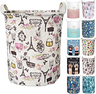Aouker Merdes 19.7'' Waterproof Foldable Laundry Hamper, Dirty Clothes Laundry Basket, Linen Bin Storage Organizer for Toy Collection (Paris)
