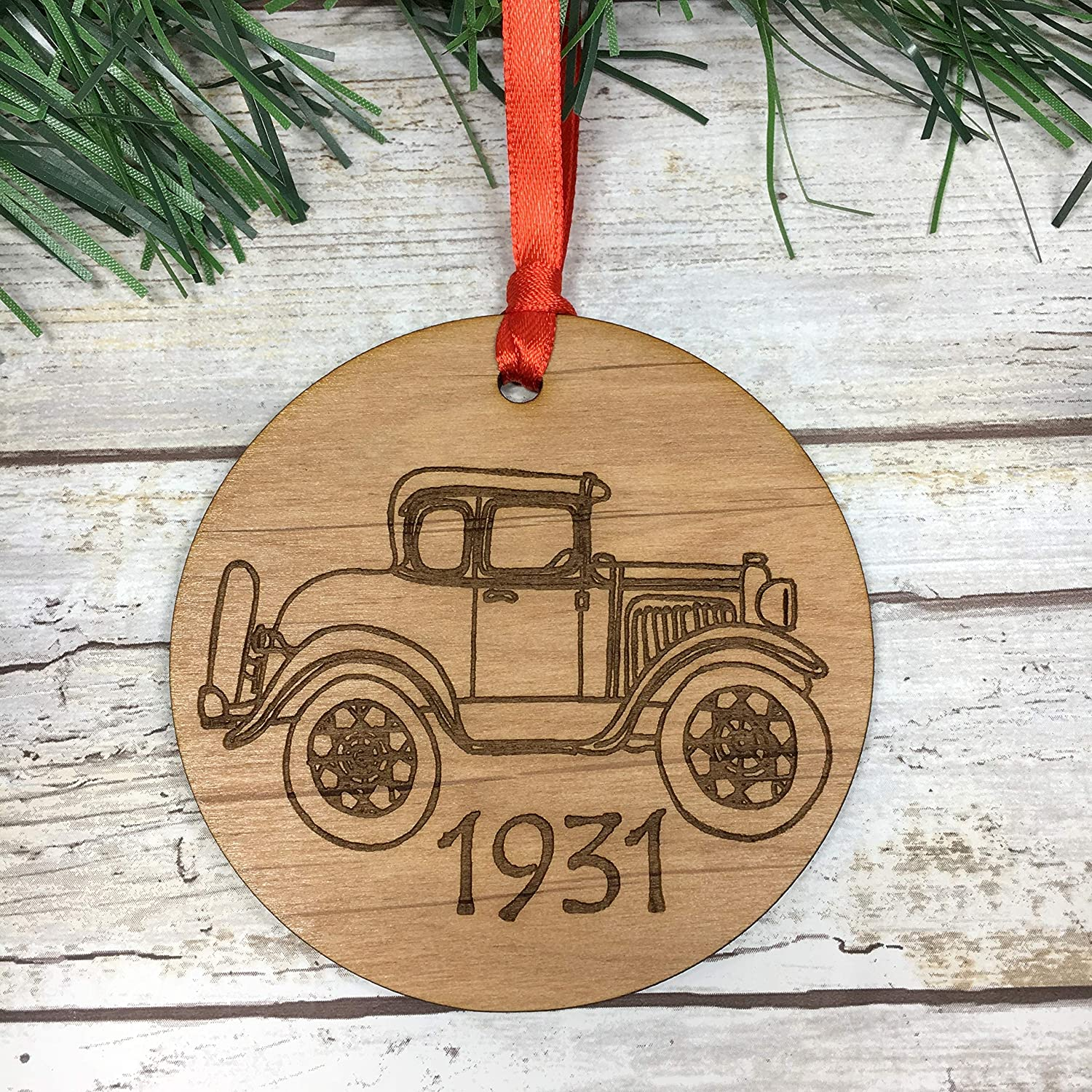 Model A Ford Laser Etched Alder Seven c Very popular New Free Shipping Tree Christmas Ornament.