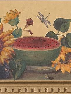 Sunflower Butterfly Watermelon Grapes on Table Beige Wallpaper Border Retro Design, Roll 15' x 9.1''