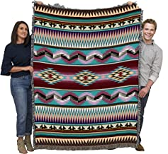 Pure Country Weavers - Southwest Desert Stripe Geometric Woven Tapestry Throw Blanket with Fringe Cotton Made In The USA Size 72 x 54