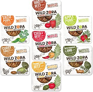 Wild Zora Meat and Veggie Bars - Variety Pack Sampler - Healthy Jerky Paleo Snacks with Organic Veggies - Gluten Free, Soy...