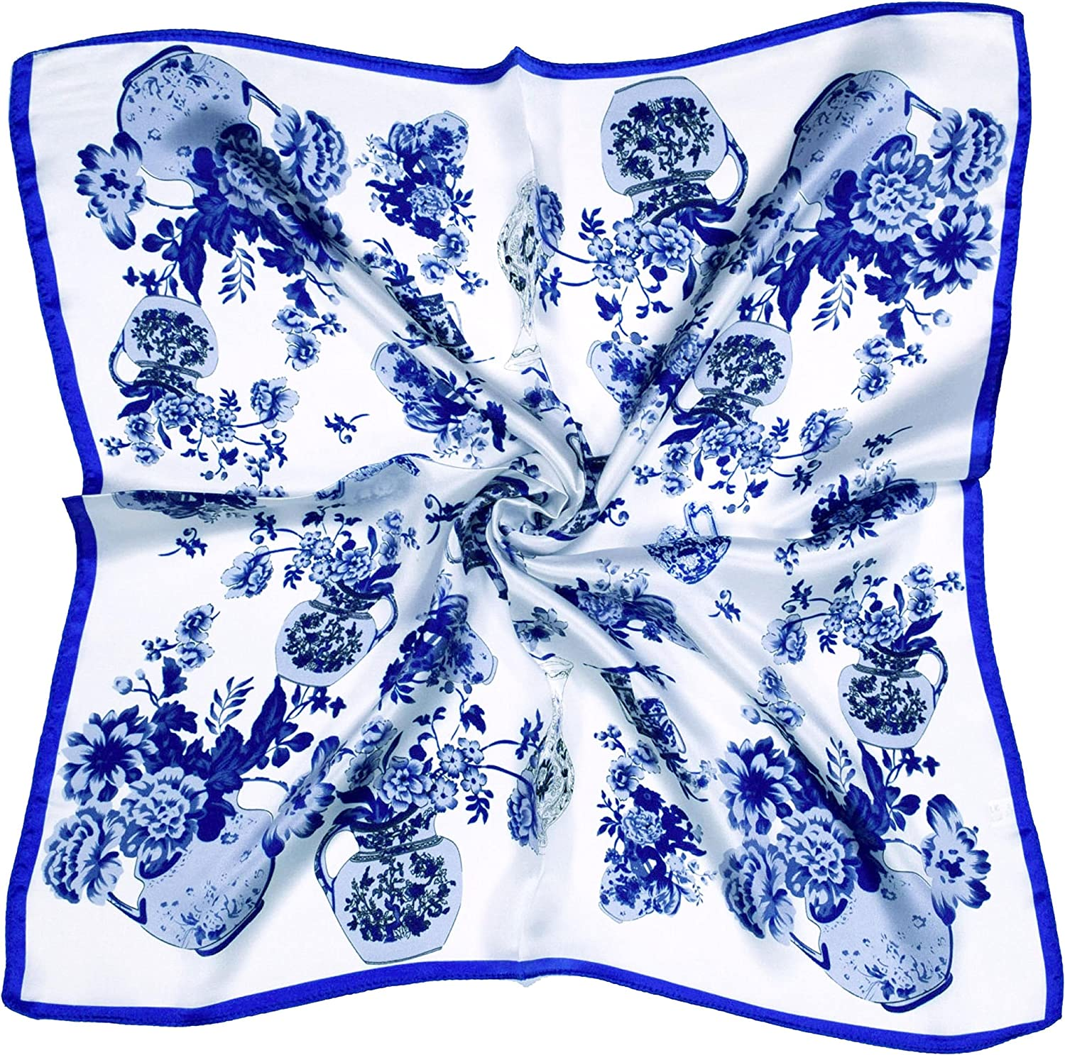 bluee White Vase Printed Thick Silk Small Square Scarf