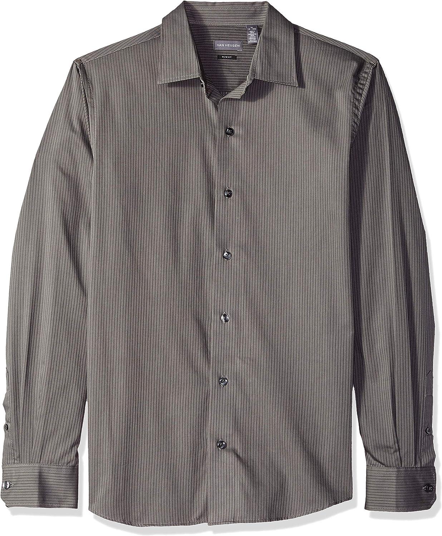 Van Heusen Men's Slim Fit Sateen Stripe Long Sleeve Button Down