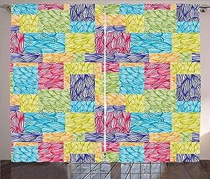 Kenneth Camilla Flourishing Nature Motif Curtain,Adjustable Tie Up Shade Rod Pocket Curtains,42 x 45 inchs