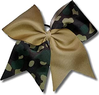 Cheer Bows Khaki Camo Camouflage Military Support Hair Bow