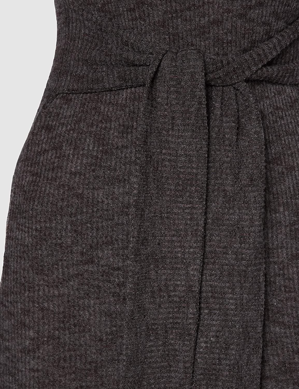 Miss Selfridge Dark Grey Tie Waist Brushed Ribbed Midi Dress Vestito Casual Donna