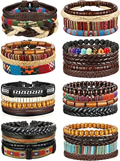 FIBO STEEL 32 Pcs Braided Leather Bracelets for Men Women Wooden Beads Cool Hemp Tribal Wristbands Cuff Punk Multilayered ...