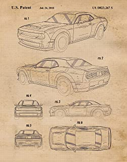 Original Dodge Demon SRT Patent Poster Prints, Set of 1 (11x14) Unframed Photo, Wall Art Decor Gifts Under 15 for Home, Office, Studio, Garage, Man Cave, College Student, Muscle Cars & Coffee Fan