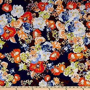 Fabric Merchants Splendid Apparel Rayon Challis Floral Navy/Orange Fabric