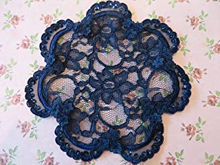 Handmade navy lace doily head cover Veil Hair Covering with sequins & bead accents Kippah Yarmulke (with decorative bobby pin) (Style 310) Exclusively by Elegant Doily