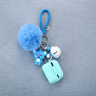Bangtan Boys Airpod Pro Case with Cute Fur Ball Keychain/Strap for Girls (3 RM Rap Monster Mint Blue)