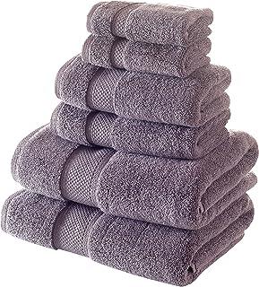 Bagno Milano Turkish Cotton Hotel Spa Towel Set, 100% Non-GMO Turkish Cotton   Ultra Soft Plush Absorbent Towels (Grey, 6 ...