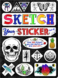 Piccadilly Sketch Your Sticker | Guided Artistic Sketchbook with Removeable Die-Cut Stickers | 550+ Sticker Outlines | 100...