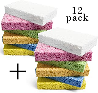 キッチンスポンジ 人気のセルローススポンジ 食器洗い神器 台所用 テーブル/お風呂の掃除用 吸水 清潔 衛生 12個セット(6色) 11.5×7×2cm