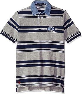 ac573b1c7 U.S. Polo Assn. Men's Bar Code Stripe Pique Polo Shirt with Chambray Collar