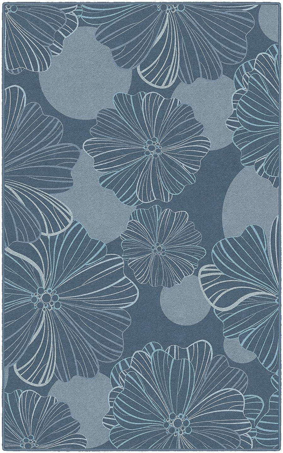 Brumlow Mills EW10295-40x60 Oversized Flowers in Gray Blue Floral Area Rug, 3'4