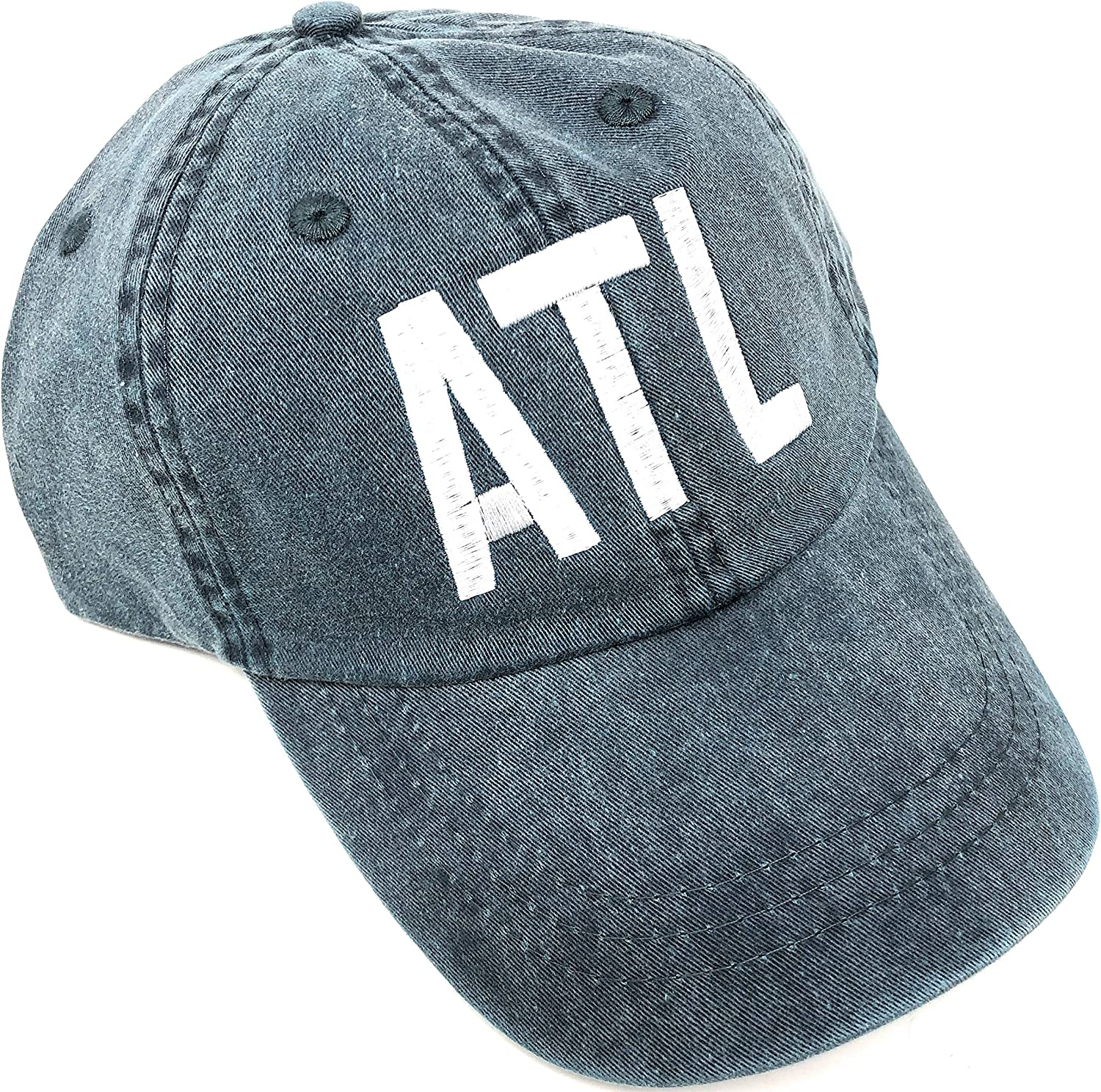 ATL Airport Code Baseball Hat - Pigment Dyed Navy Blue with White Letters