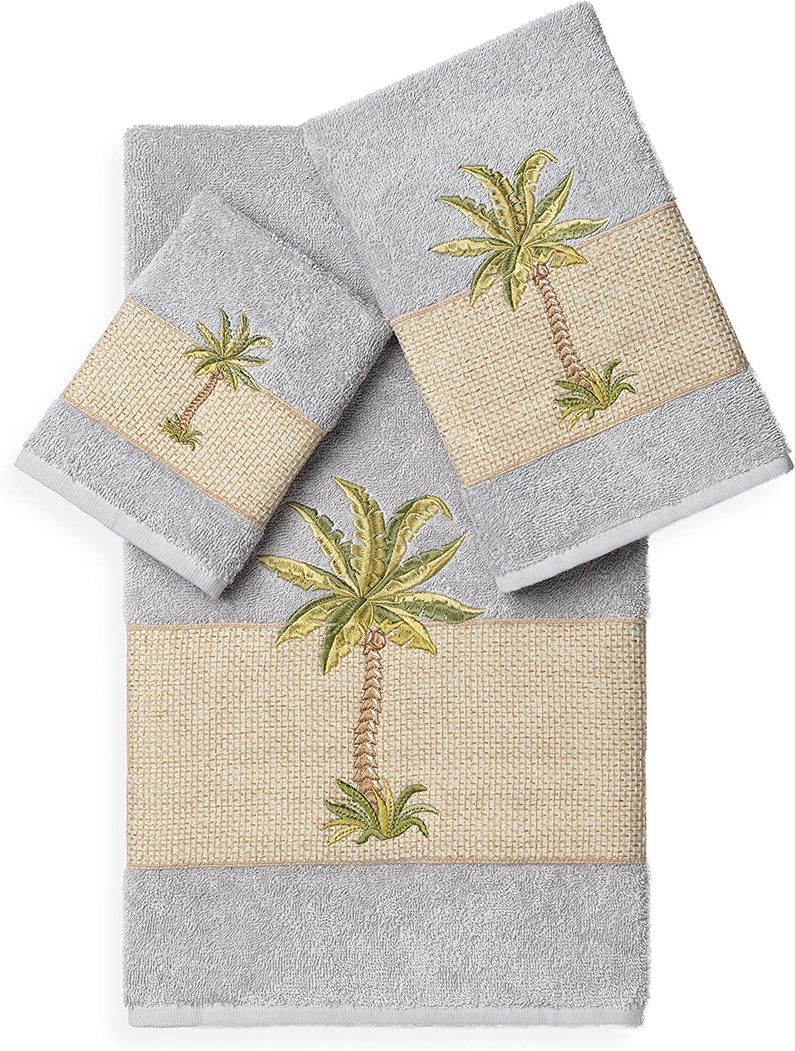 Linum Daily bargain sale Home Textiles Serenity Ranking integrated 1st place 3Pc Set Embellished Gr Light Towel