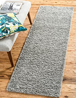 Unique Loom Solo Solid Shag Collection Modern Plush Cloud Gray Runner Rug (2' 2 x 6' 5)