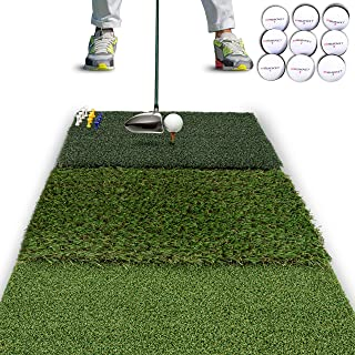 Rukket Tri-Turf Golf Hitting Mat Attack | Portable Driving, Chipping, Training Aids for Backyard with Adjustable Tees and Foam Practice Balls