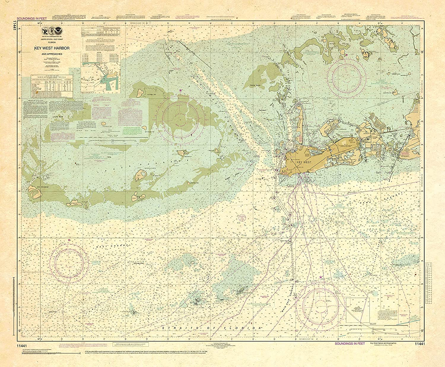 Paradise Cay famous Publications NOAA Chart West Product 11441: Harbor and Key