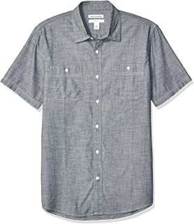 Men's Slim-fit Short-Sleeve Chambray Shirt
