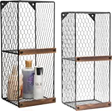 MyGift Set of 2 Wall-Mountable 2-Tier Chicken Wire Storage Shelves with Wood Ledges,..