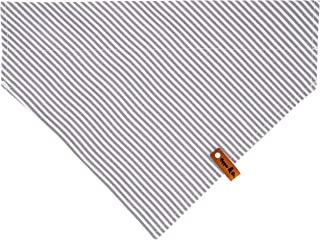 Copper and Co. Dog Bandana, Pet Scarf, Unisex Dog Kerchief for Boy & Girl Dogs, Washable 2 Layer Fabric with Leather Tag, Grey and White Stripes