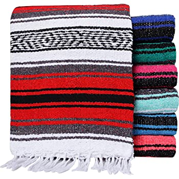 El Paso Designs Mexican Yoga Blanket Colorful 51in x 74in Studio Mexican Falsa Blanket Ideal for Yoga, Camping, Picnic, Beach Blanket, Bedding, Home Decor Soft Woven (Random Color)