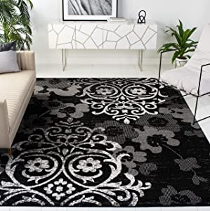 Safavieh Adirondack Collection ADR114A Floral Glam Damask Distressed Non-Shedding Stain Resistant Living Room Bedroom Area Rug, 9' x 12', Black / Silver