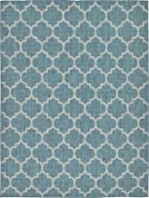 Unique Loom Outdoor Trellis Collection Casual Moroccan Lattice Transitional Indoor and Outdoor Flatweave Teal Area Rug (9' 0 x 12' 0)