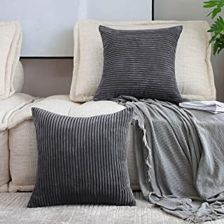 Best Home Brilliant 2 Pack Decoration Super Soft Striped Corduroy Decorative Euro Throw Pillow Sham Cushion Cover for Couch, 26x26 inch(66cm), Dark Grey Reviews