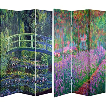 3 Panels Oriental Furniture Largest Fine Wall Art Print Room Divider 6-Feet Classic Monet Impressionist Paintings Printed Folding Screen