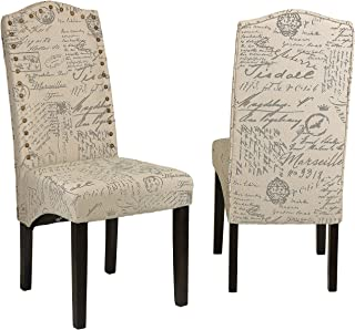 Cortesi Home Miller Dining Chair in Beige Script Fabric (Set of 2), Beige