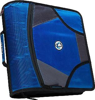 Case-it King Sized Zip Tab 4-Inch D-Ring Zipper Binder with 5-Tab File Folder, Blue, D-186-BLU