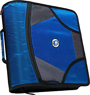 Case-it King Sized Zip Tab 4-Inch D-Ring Zipper Binder with 5-Tab File Folder, Blue, D-186-BLU
