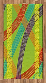 Lunarable Dirt Bike Area Rug, Rainbow Colored Bike Trails on Green Background Outdoor Hobby Themed Illustration, Flat Woven Accent Rug for Living Room Bedroom Dining Room, 2.6' x 5', Multicolor