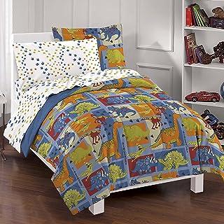 Dream Factory Dinosaur Blocks Ultra Soft Microfiber Boys Comforter Set,  Blue, Twin