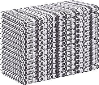 Cloth Napkin Stripe Fabric-18x18 Charcoal, Wedding Napkins, Cocktails Napkins, Fabric Napkins, Cotton Napkins Mitered Corners & Generous Hem, Machine Washable Dinner Napkins, 12 Pack
