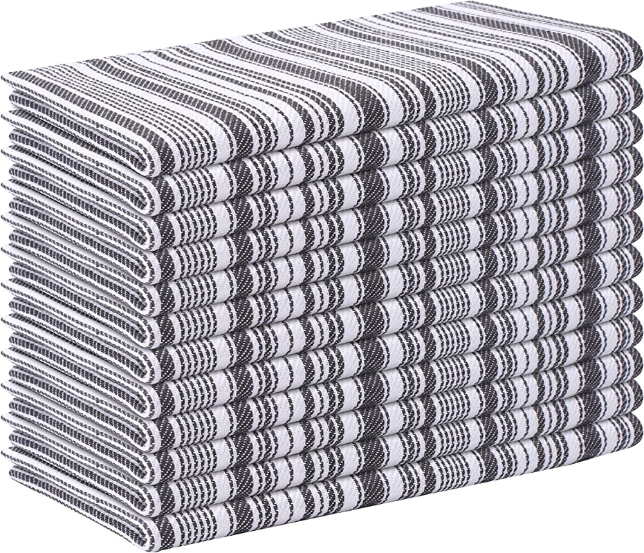 Life By Cotton 12 Pack Tuscany Stripe Dinner Napkins 18x18 Charcoal