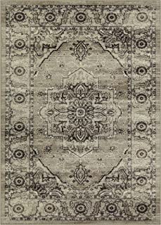 Maples Rugs Area Rugs - Distressed Lexington 5 x 7 Large Rug [Made in USA] for Living Room, Bedroom, and Dining Room, Neutral
