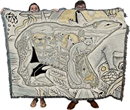 Pure Country Weavers Polar Bear Blanket, Native American Style Colorful Animal Throw Blanket, Pacific Northwest Totem Design by Sue Coccia – Woven Bear Tapestry w/Cotton Fringe (72x54) Made in USA