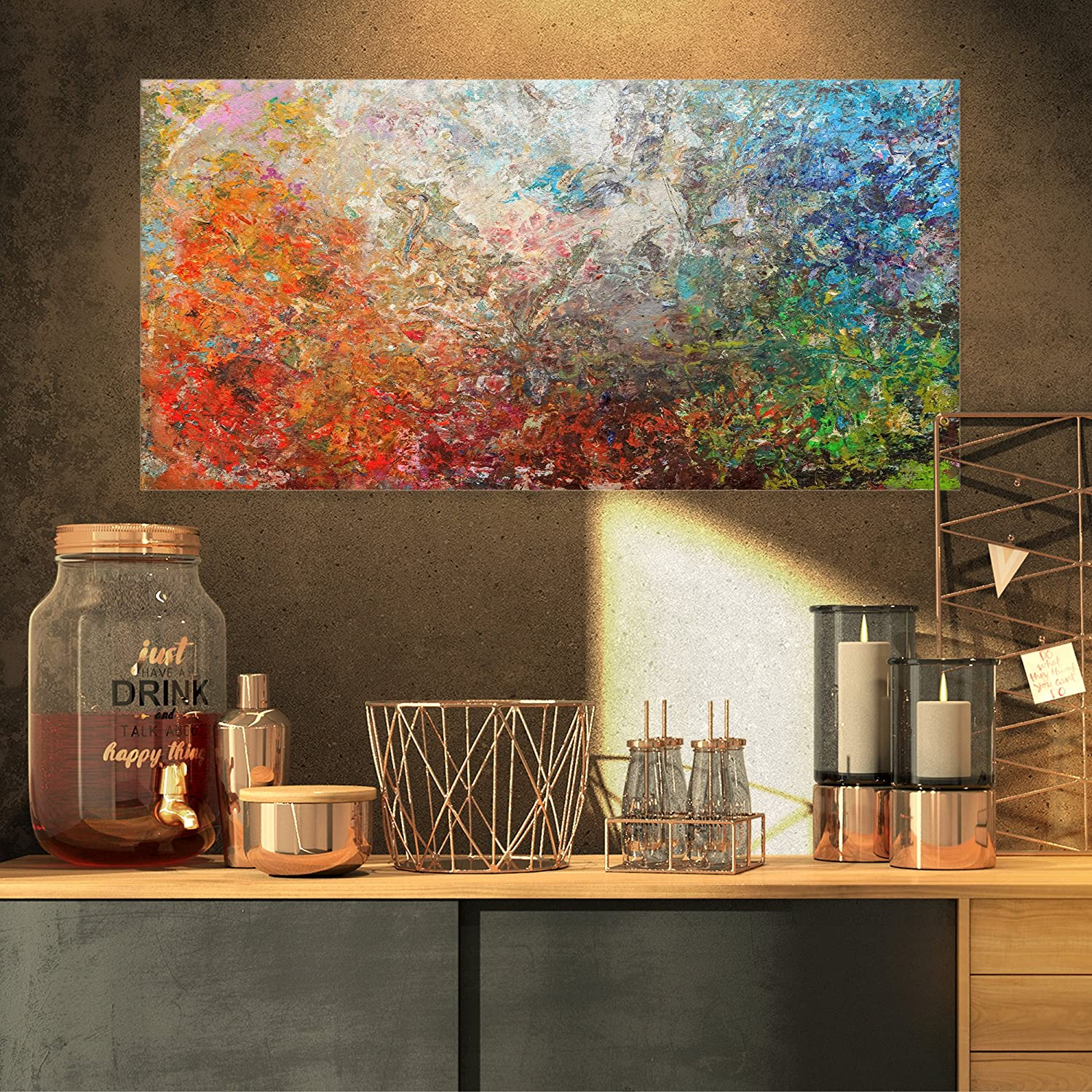 Designart 宅配便送料無料 Board Stained Abstract 供え 32x16 Canvas Print-32x16 Art