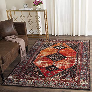 "Safavieh Vintage Hamadan Collection Oriental Antiqued Orange and Multi Area Rug (6'7"" x 9')"