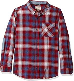 Boys' Long Sleeve Twill Plaid Shirt with Snow Wash