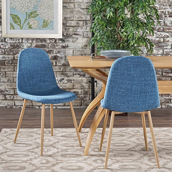 Christopher Knight Home 301732 Raina Mid Century Modern Dining Chairs With Wood Finished Metal Legs Set Of 2 Muted Blue Light Brown