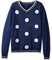 Tommy Hilfiger Kids - Sequin Dot V-Neck Sweater (Big Kids)