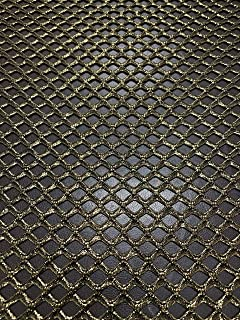 Diamond Mesh Big Hole 0.5 Inch with or Without Silver Foil Stretch Polyester Spandex Mesh Fabric by The Yard (Black with Gold Foil)