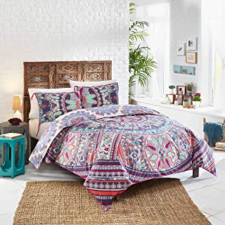 Boho Boutique Beach Babe 100% Cotton Coverlet with 2 Coordinating Decorative Shams, Twin XL, Rosewater