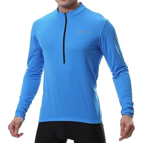 Spotti Men s Cycling Bike Jersey Long Sleeve with 3 Rear Pockets - Moisture  Wicking 035604bb5